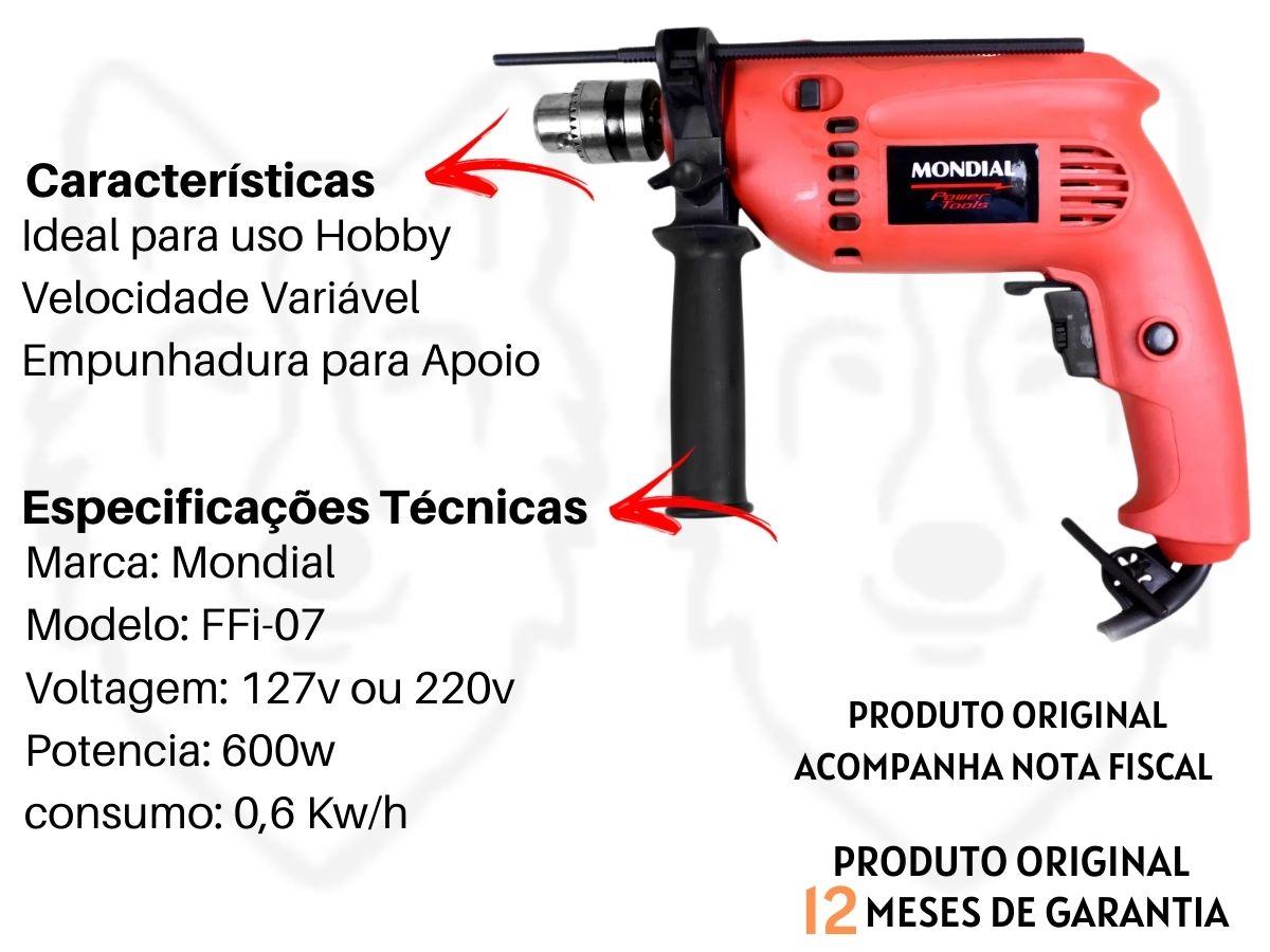 Kit Furadeira De Impacto 600w 10mm Mondial Ffi-07 + Jogo De Ferramentas Infinity 134 Peças Com Maleta