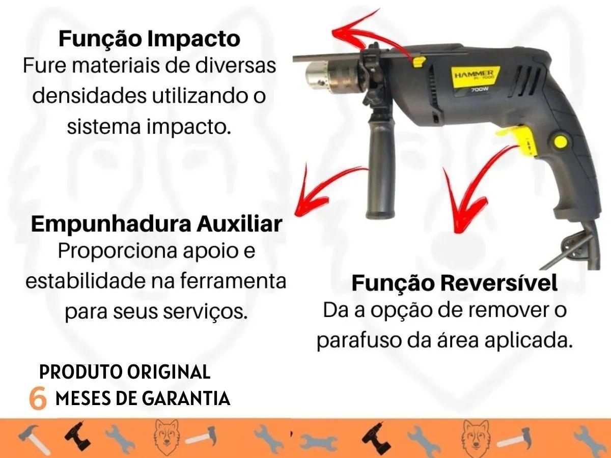 Kit Furadeira De Impacto 700w 13mm + Bolsa Porta Ferramentas Grande 18 Bolsos
