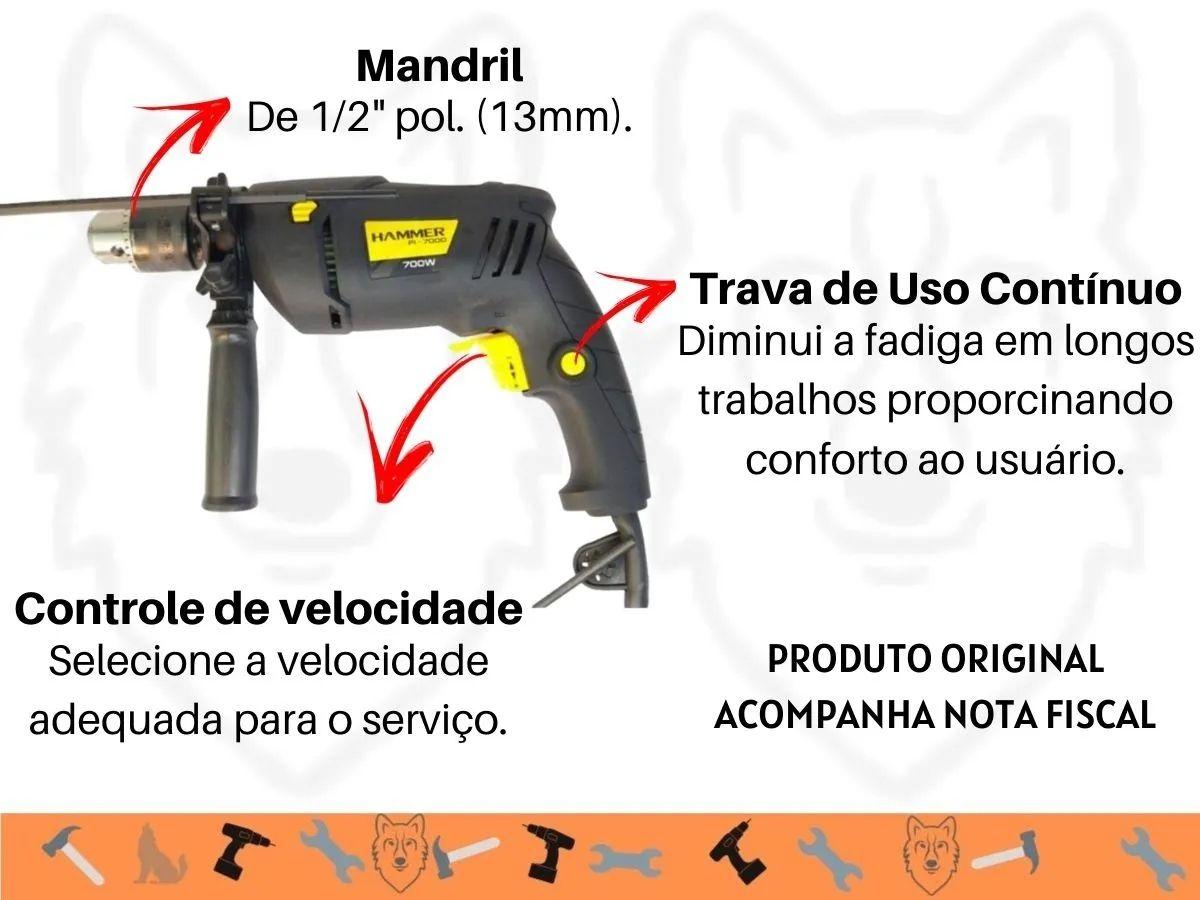 Kit Furadeira De Impacto 700w 13mm + Jogo de Brocas Mistas 9 Peças