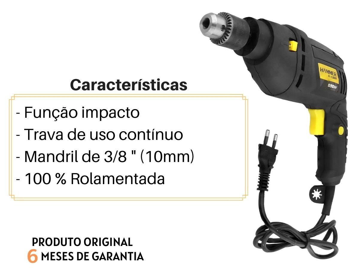 Kit Furadeira De Impacto 550w Hammer Fi-1000 + Jogo De Soquetes Fertak 40 Peças Voltagem:127v