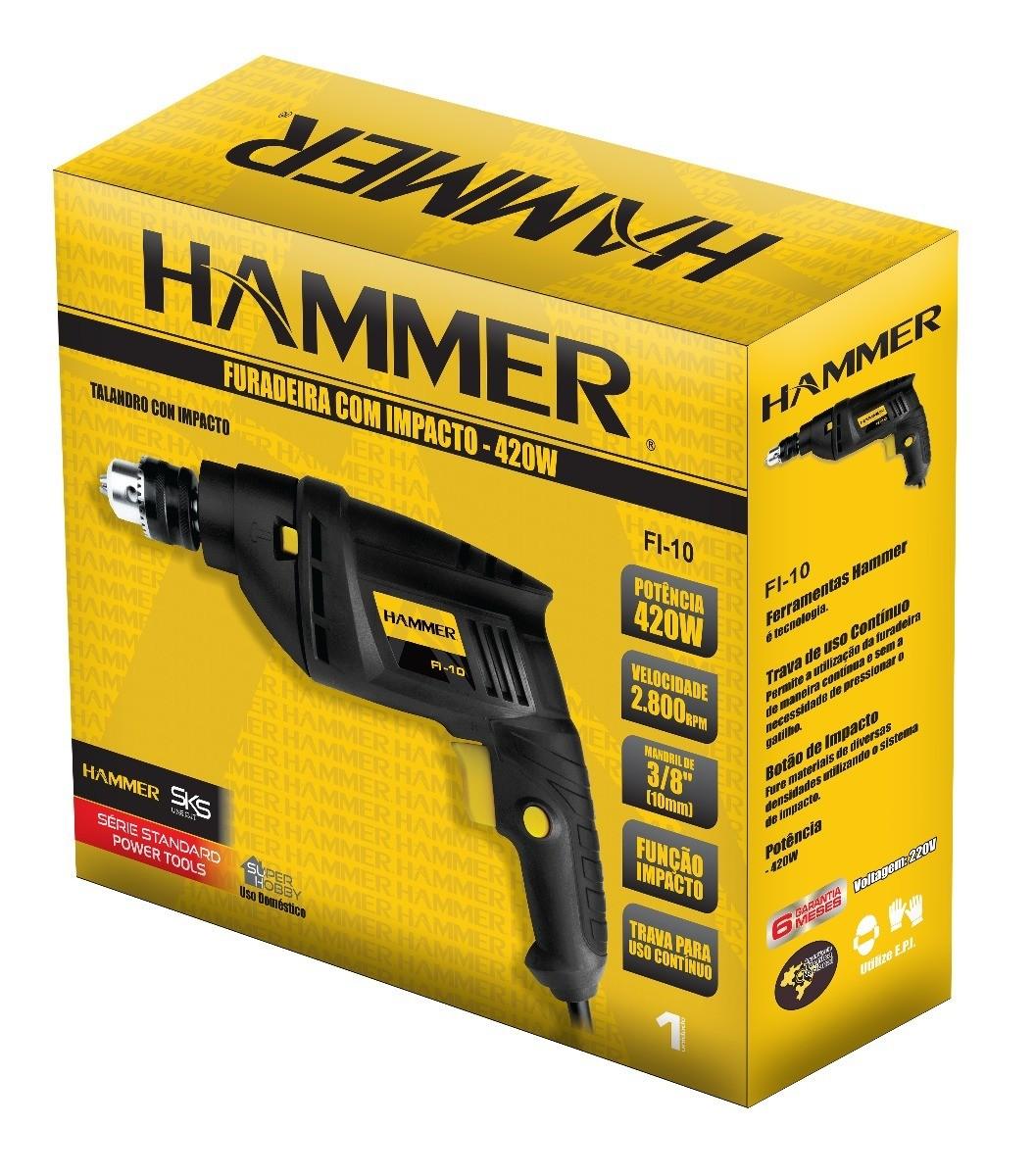 Kit Furadeira De Impacto 420w Hammer Fi-10 + Tico Tico 400w Hammer St-400 + Lixadeira Orbital Hammer Lo-135 1/3 De Lixa
