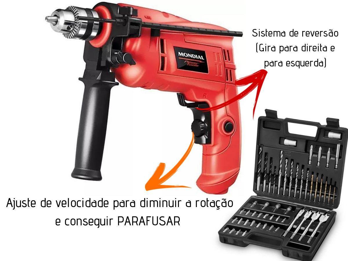 Kit Furadeira Impacto Mondial  600w NFFi-07-600 + Maleta de Brocas e Bits