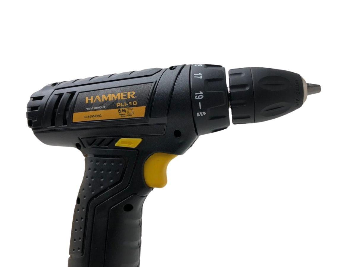 Kit Ferramenta Parafusadeira 12v Hammer Pli-10 À Bateria Com Acessórios Bivolt Voltagem:Bivolt