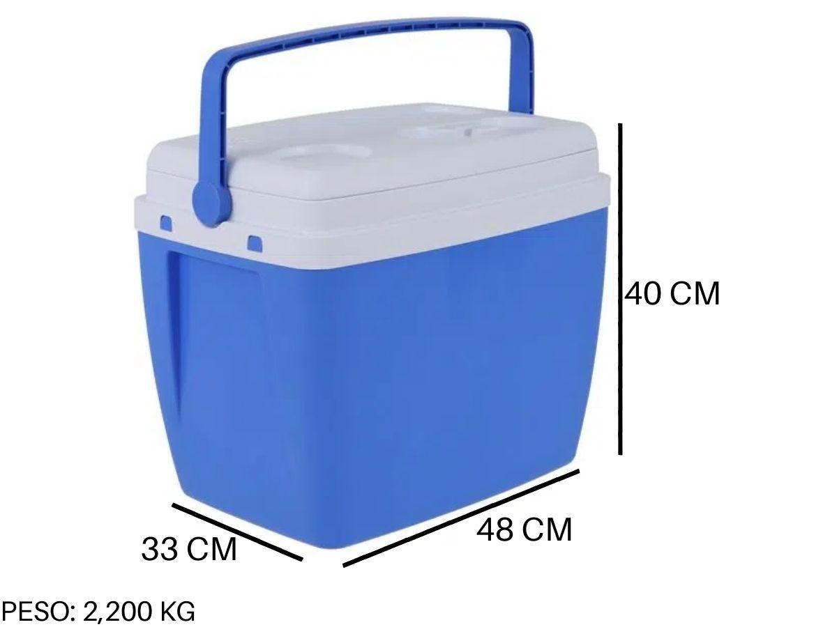 Kit Guarda Sol Articulado 2,60 M + Cadeira De Praia + Cooler 34 Litros