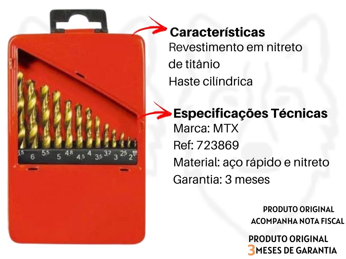 Kit Jogo De Brocas Aço Rápido 13 Peças + Jogo De Brocas Videa 4 Peças MTX