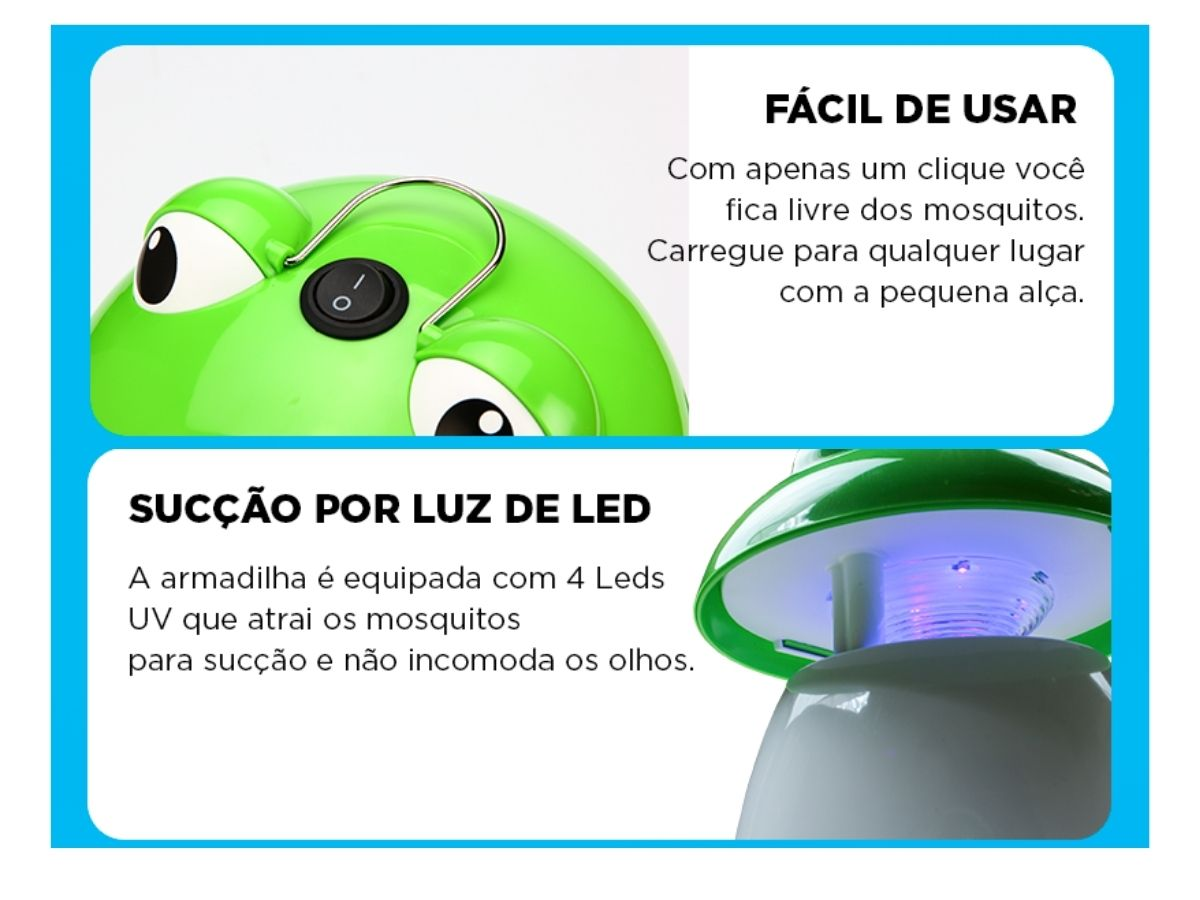 Kit Luminária Armadilha De Mosquito Sapo NSBAO Bivolt 3 Peças