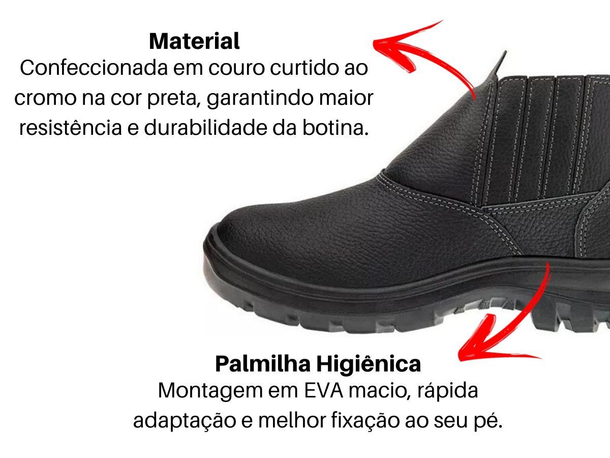 Kit Luva De Proteção Pigmentada + Óculos Transparente + Bota Botina Bico Pvc Em Couro