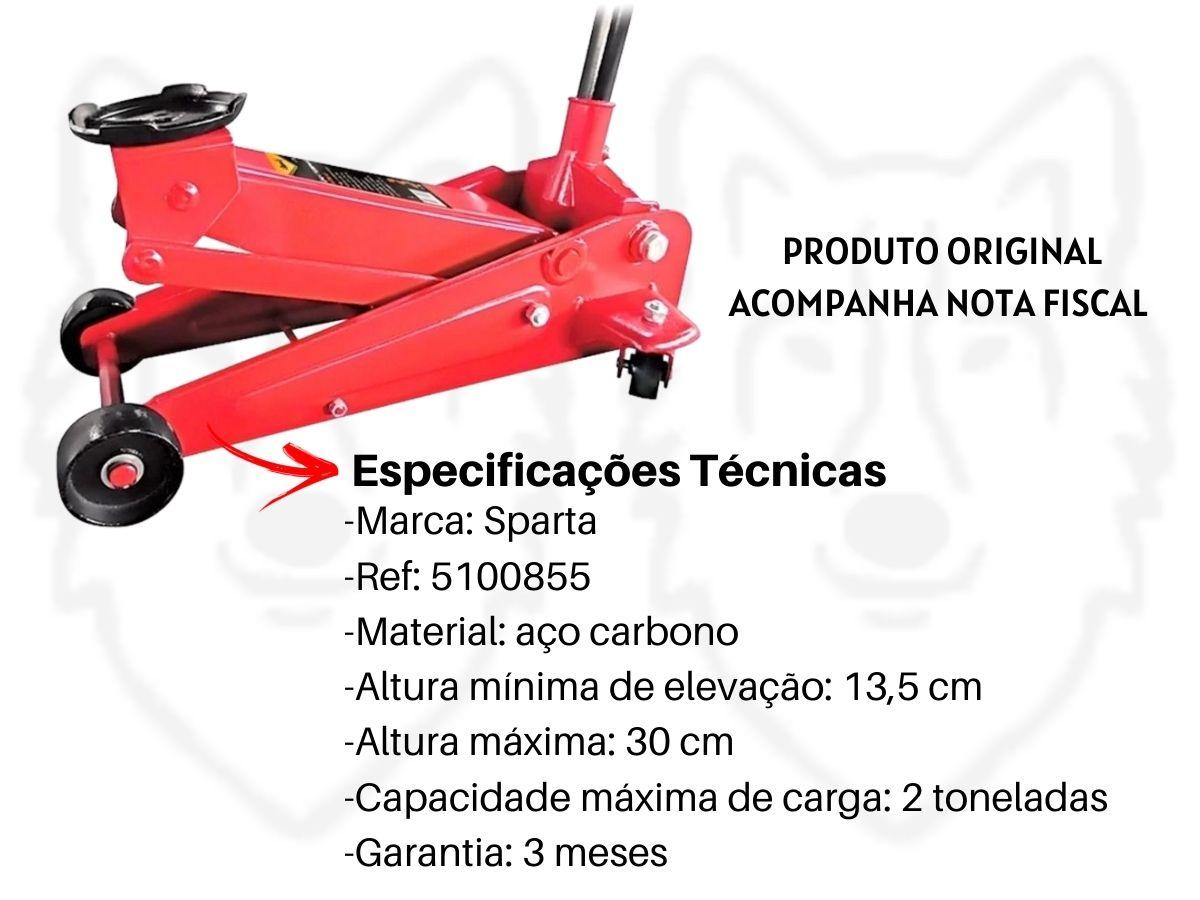 Kit Macaco Hidráulico Jacaré 2T Sparta + Kit Ferramentas Hammer 142 Peças GYKF142 e Luva de Raspa