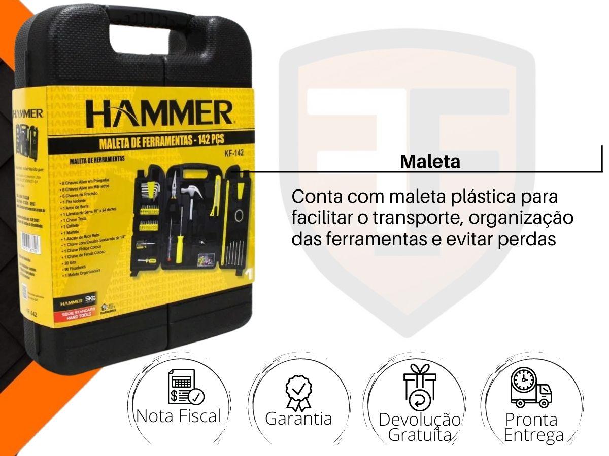 Kit Maleta de Ferramentas Hammer 142 Peças KF-142