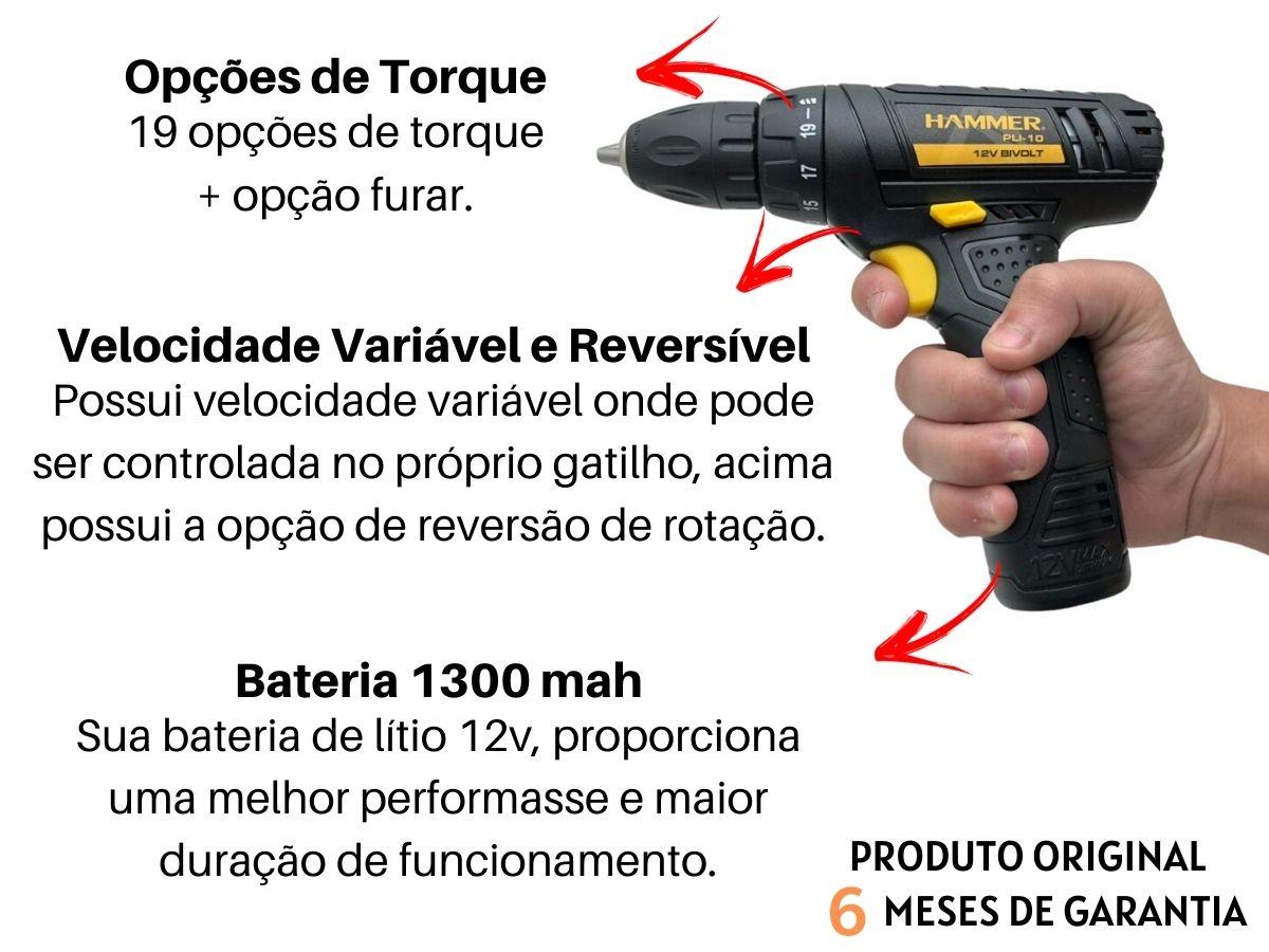 Kit Ferramenta Parafusadeira 12v Hammer Pli-10 + Jogo De Soquetes Com Catraca Fertak