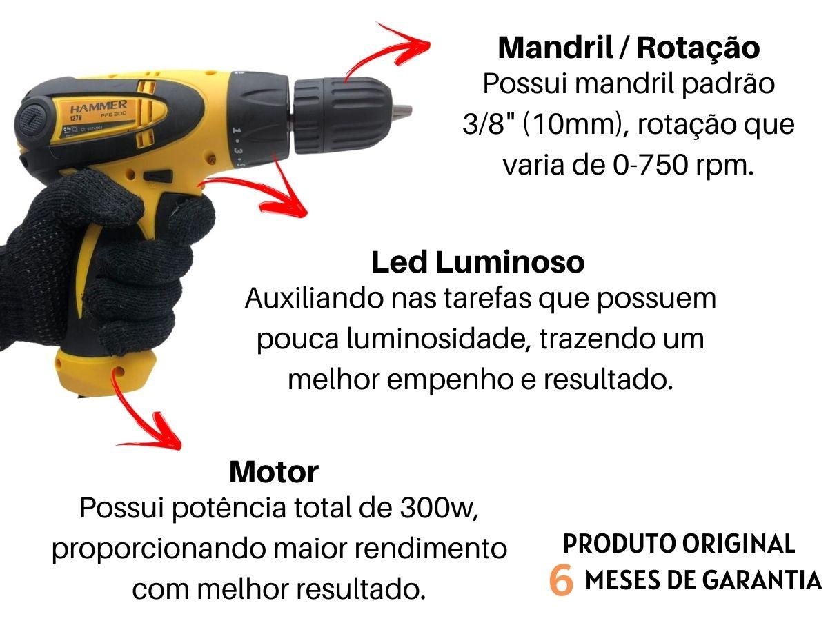 Kit Parafusadeira Furadeira Elétrica 300w 10mm + Jogo De Bits Aço Crv + Extensor Flexível + Canhão Soquete Sextavado