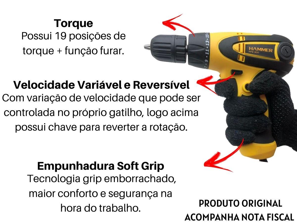 Kit Parafusadeira Furadeira Elétrica 300w 10mm + Soquetes C/ Catraca 40 Peças + Jogo De Bits Magnéticos Aço Crv + Bolsa
