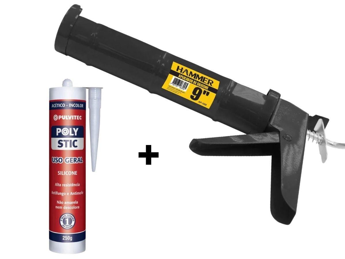 Kit Pistola Aplicadora De Silicone 9 Pol. Hammer + Silicone De Tubo 250g Incolor
