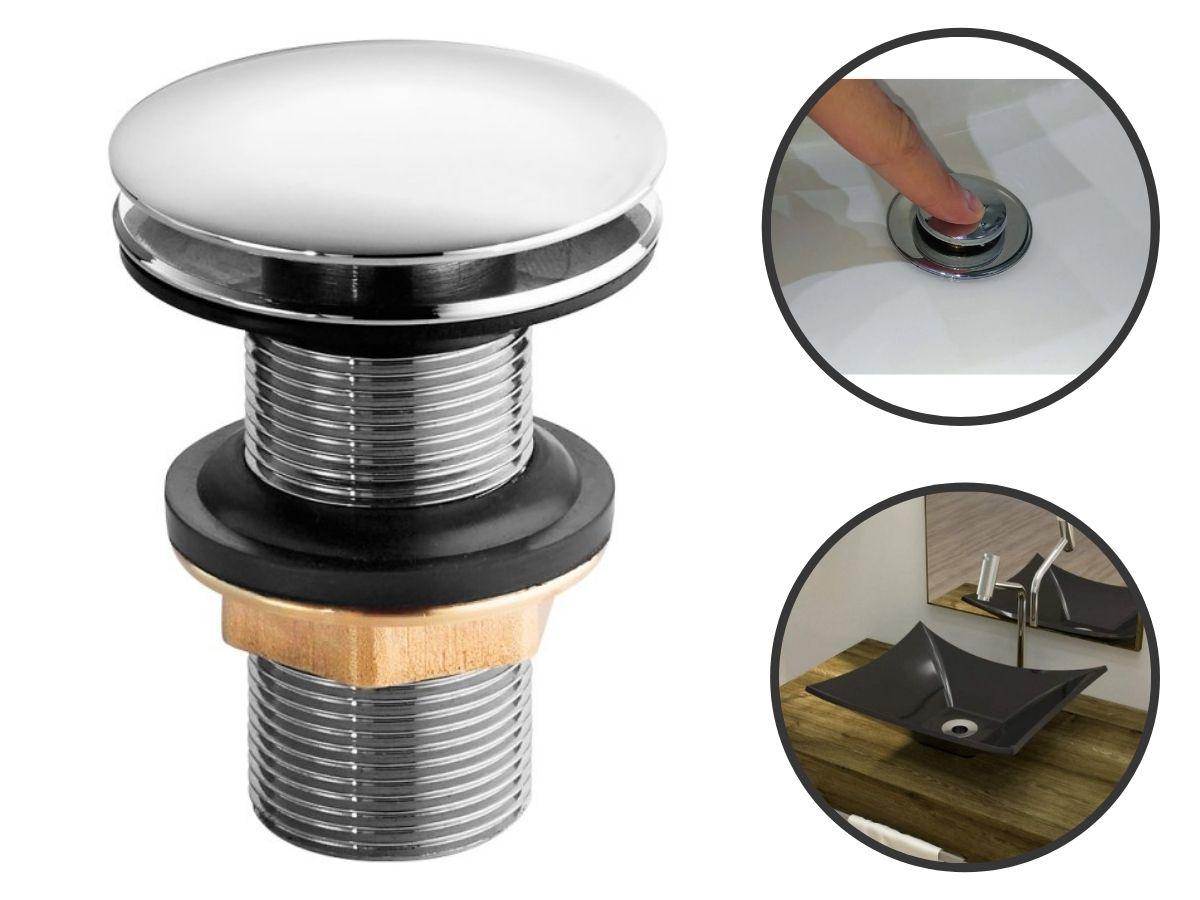 Kit Ralo Click 15x15cm Quadrado Em Aço Inox Inteligente + Válvula Ralo Click Up Sem Ladrão Lavatório Cuba Pia 7/8 Inox