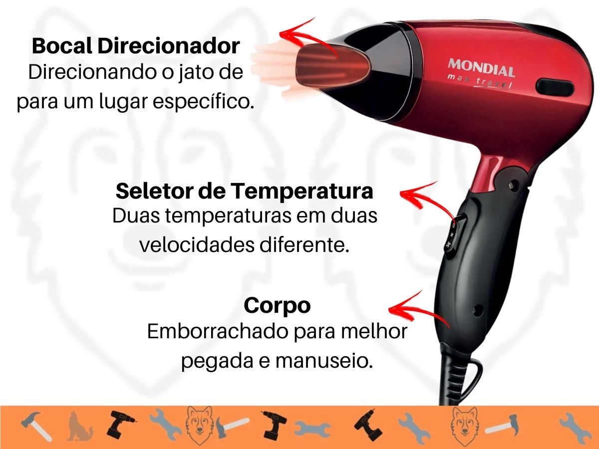 Kit Secador SC-10 e Prancha Alisadora  Mondial P-15 Max Travel Portátil