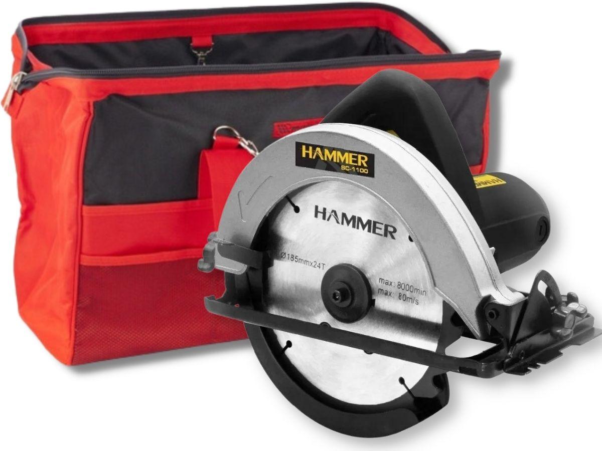 Kit Serra Circular 1100w Hammer Gysc-1100 185mm + Bolsa Porta Ferramentas Grande Mtx 902529 18 Bolsos