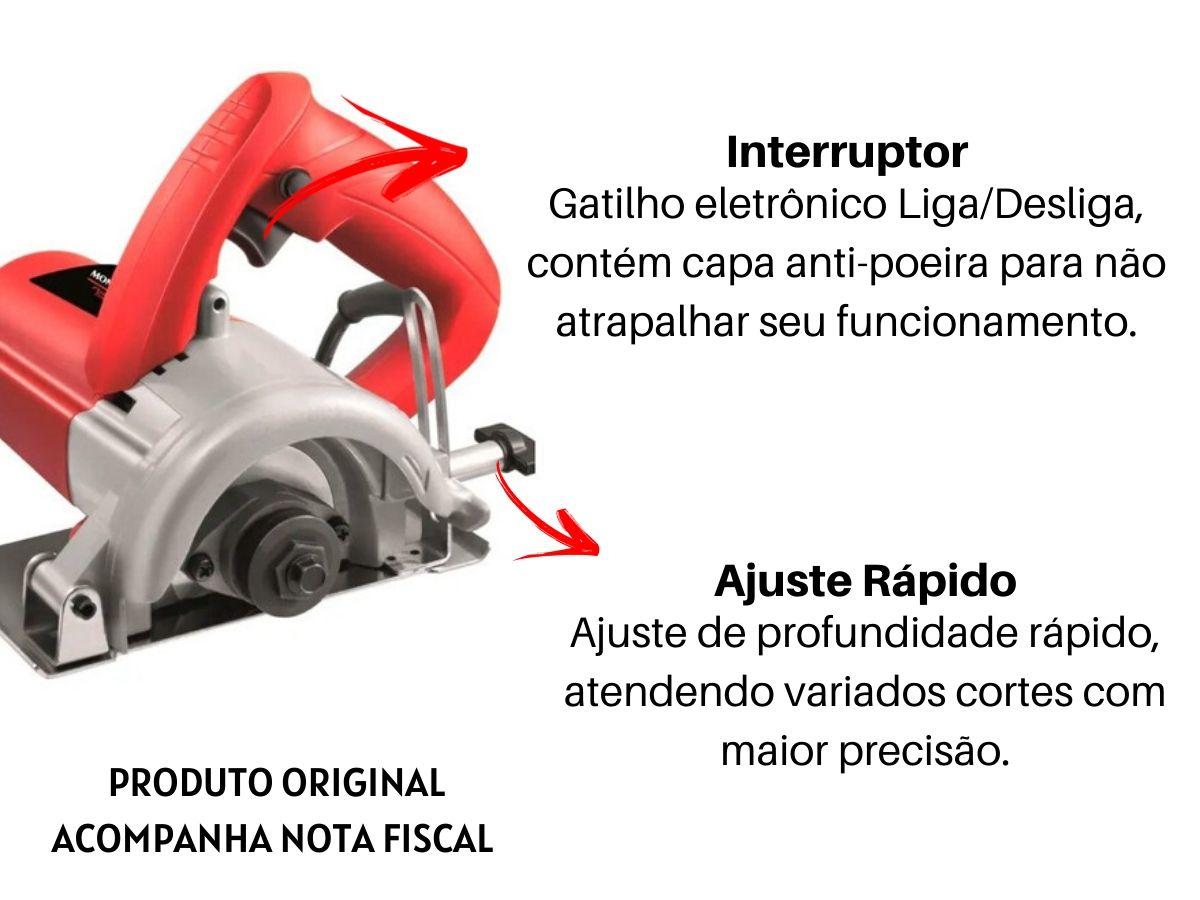 Kit Serra Mármore 1200w 110mm + 2 Discos De Corte Segmentado + Bolsa Porta Ferramentas