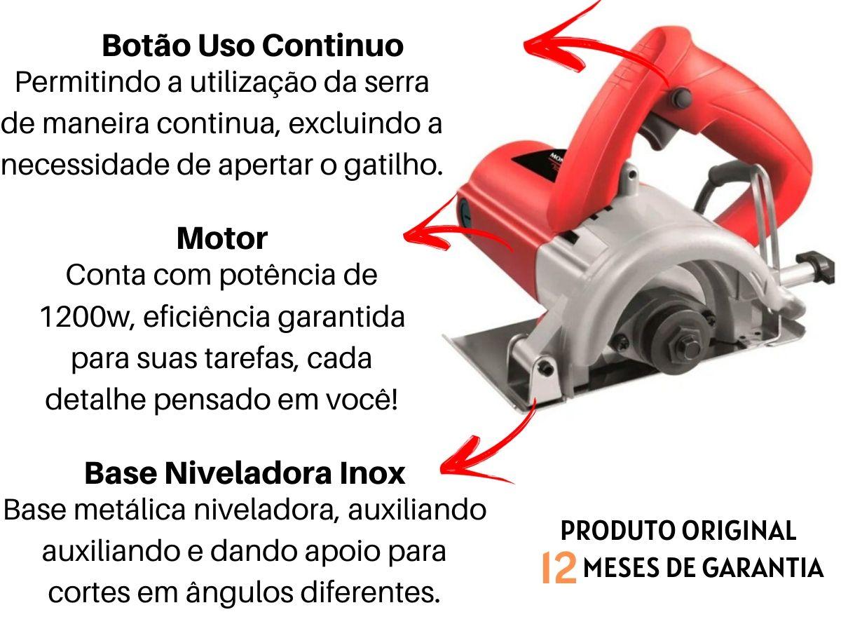 Kit Serra Mármore 1200w 110mm + 2 Discos De Corte Segmentado + Jogo De Soquetes 40 Peças