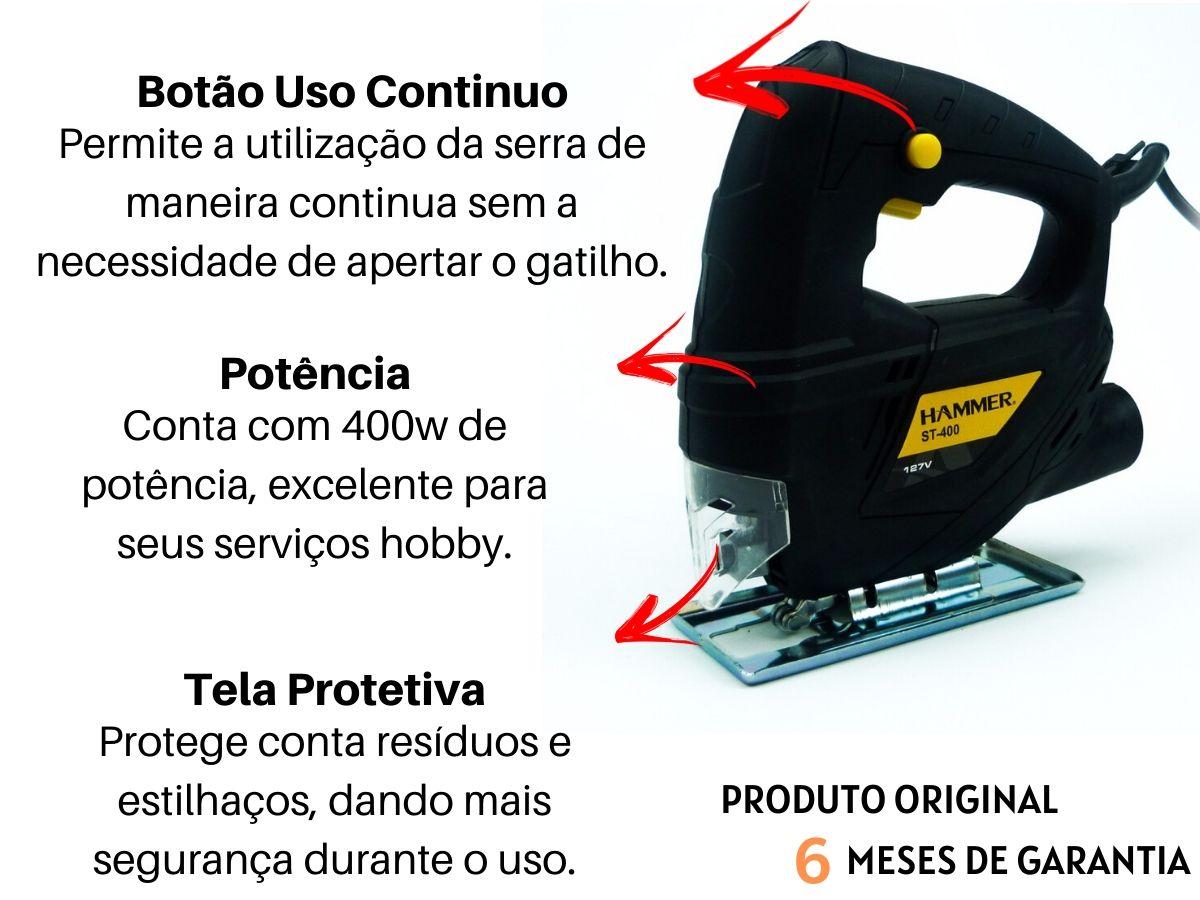 Kit Serra Tico Tico 400w + Jogo De Lâminas 5 Peças + Bolsa Porta Ferramentas 18 Bolsos