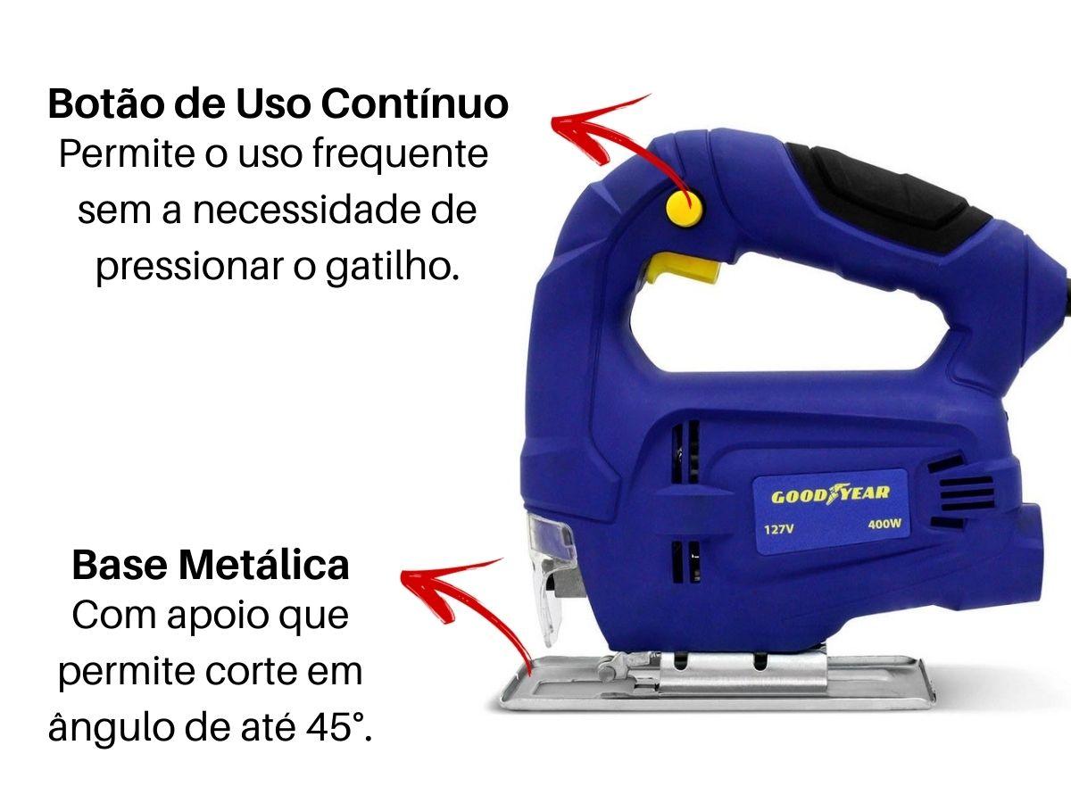 Kit Serra Tico Tico 400w Soft Grip + Jogo De Lâminas 5 Peças + Maleta De Ferramentas 134 Peças
