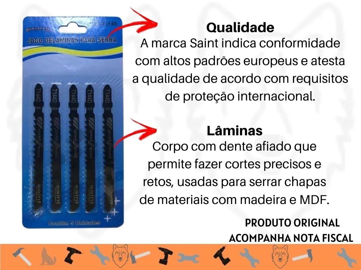 Kit Serra Tico Tico 500w + 5 Lâminas + Soquetes Com Catraca 40 Peças