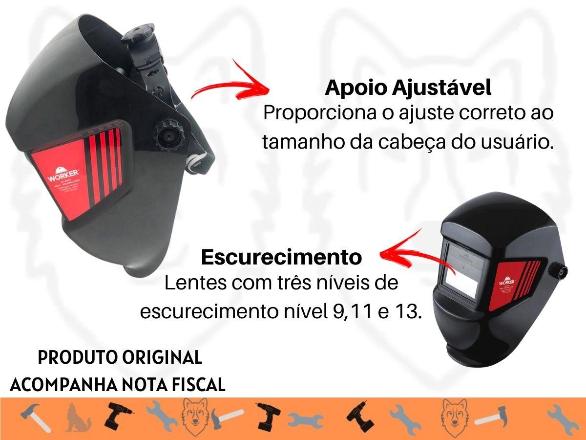 Kit Serralheiro Soldador Máquina Inversora Solda Ksi-130 e Máscara Com Filtro De Escurecimento Wk-71
