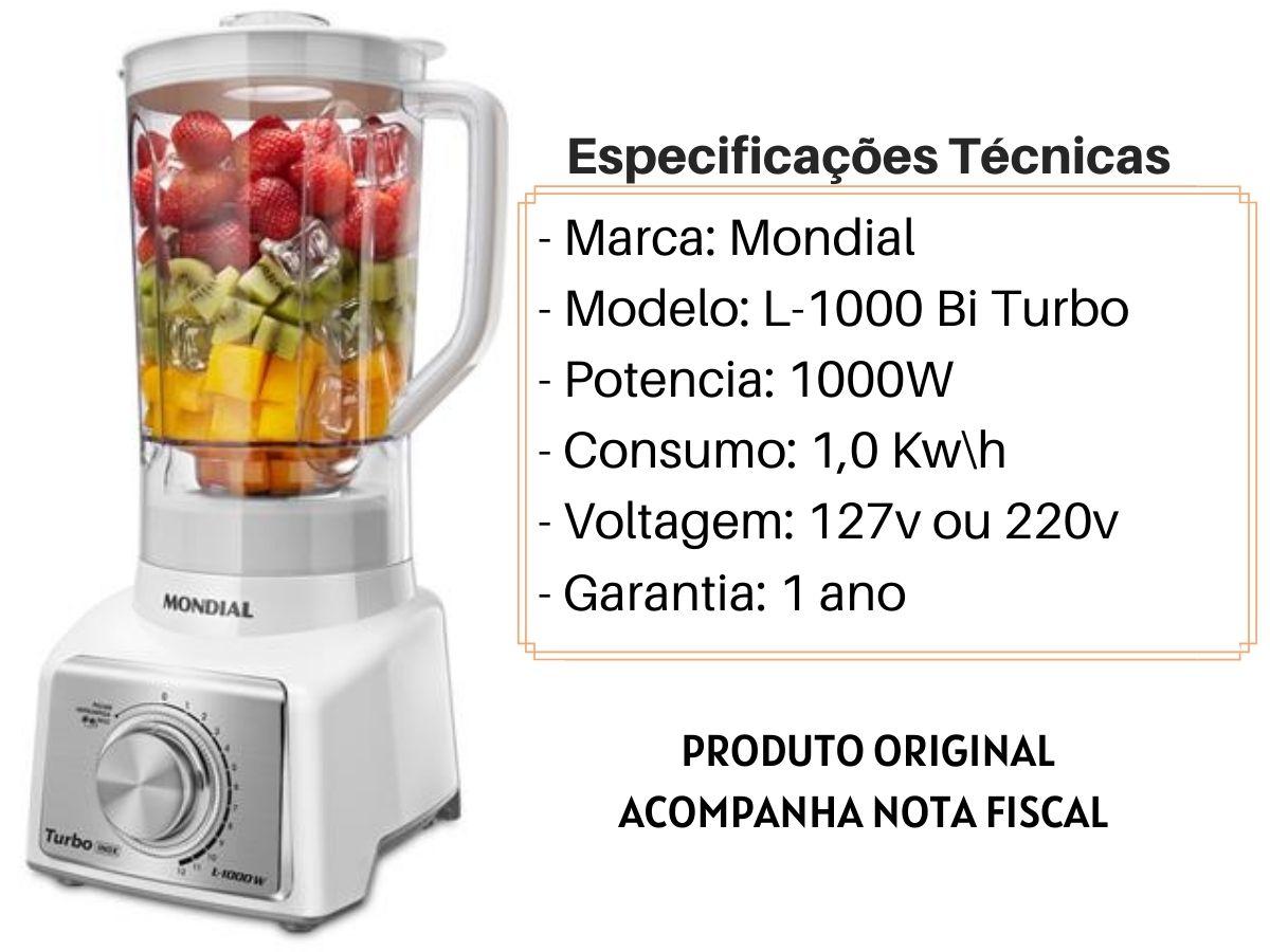 Liquidificador Mondial L-1000-WI 1000w Branco Turbo