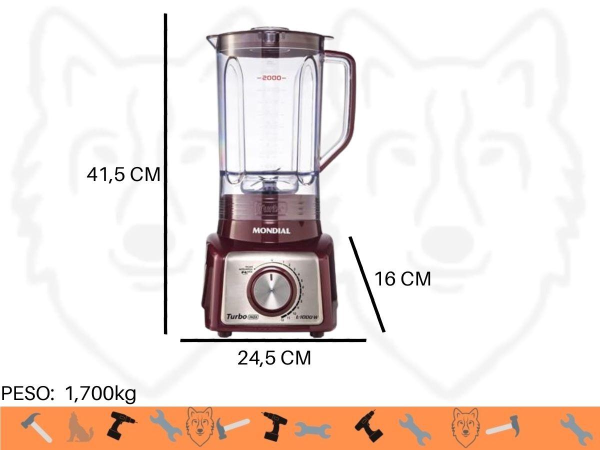Liquidificador Mondial L-1000-MI 1000w Turbo Inox
