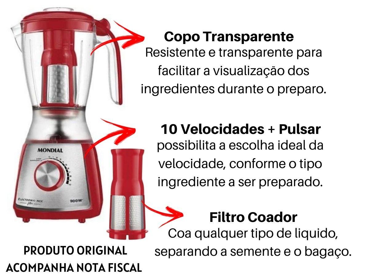 Liquidificador Mondial L-74 Electronic Inox Filter 900w Vermelho