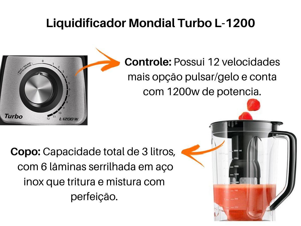 Liquidificador Mondial L-1200-BI 1200w Turbo Preto