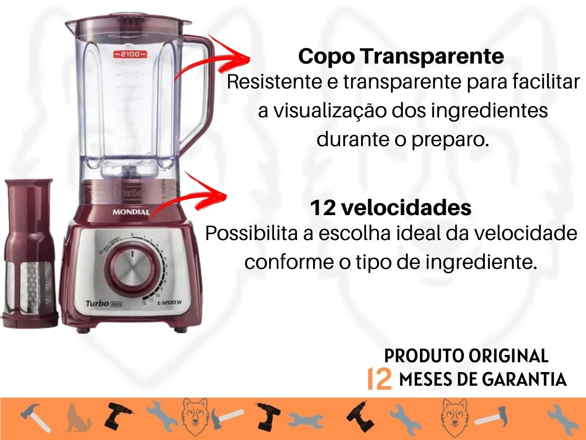 Liquidificador Mondial Turbo L-1200 MI Roxo