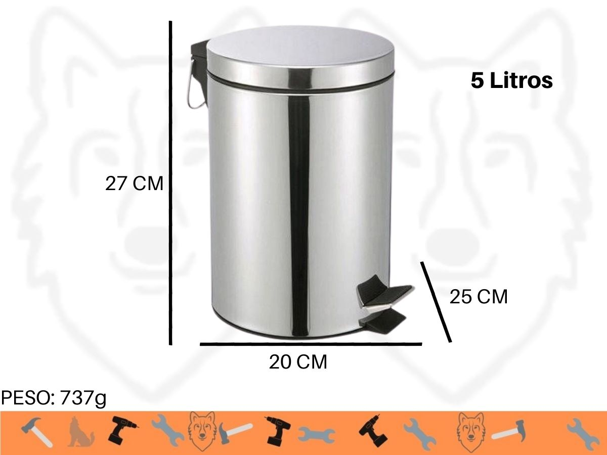 Lixeira de Inox Home Flex FXH-302 5 Litros Com Alça e Cesto