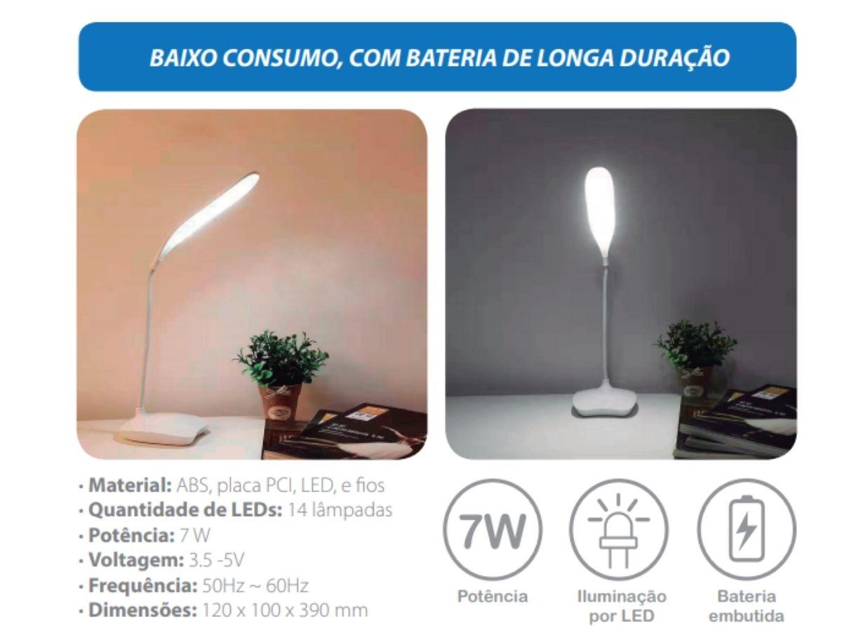 Luminária Led De Mesa C/ Bateria De Longa Duração Made Basics LM-5
