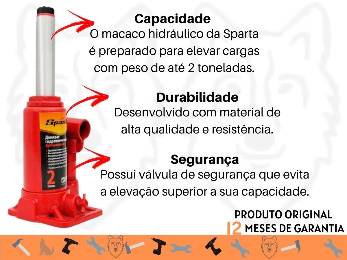 Macaco Hidráulico Tipo Garrafa Sparta 2 Toneladas