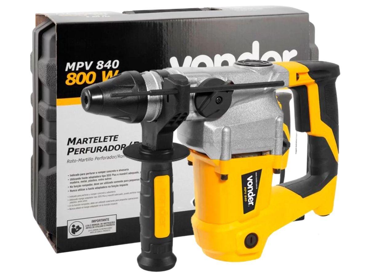 Martelete Combinado 800w Vonder MPV-840 4,0J C/ Maleta E Acessórios