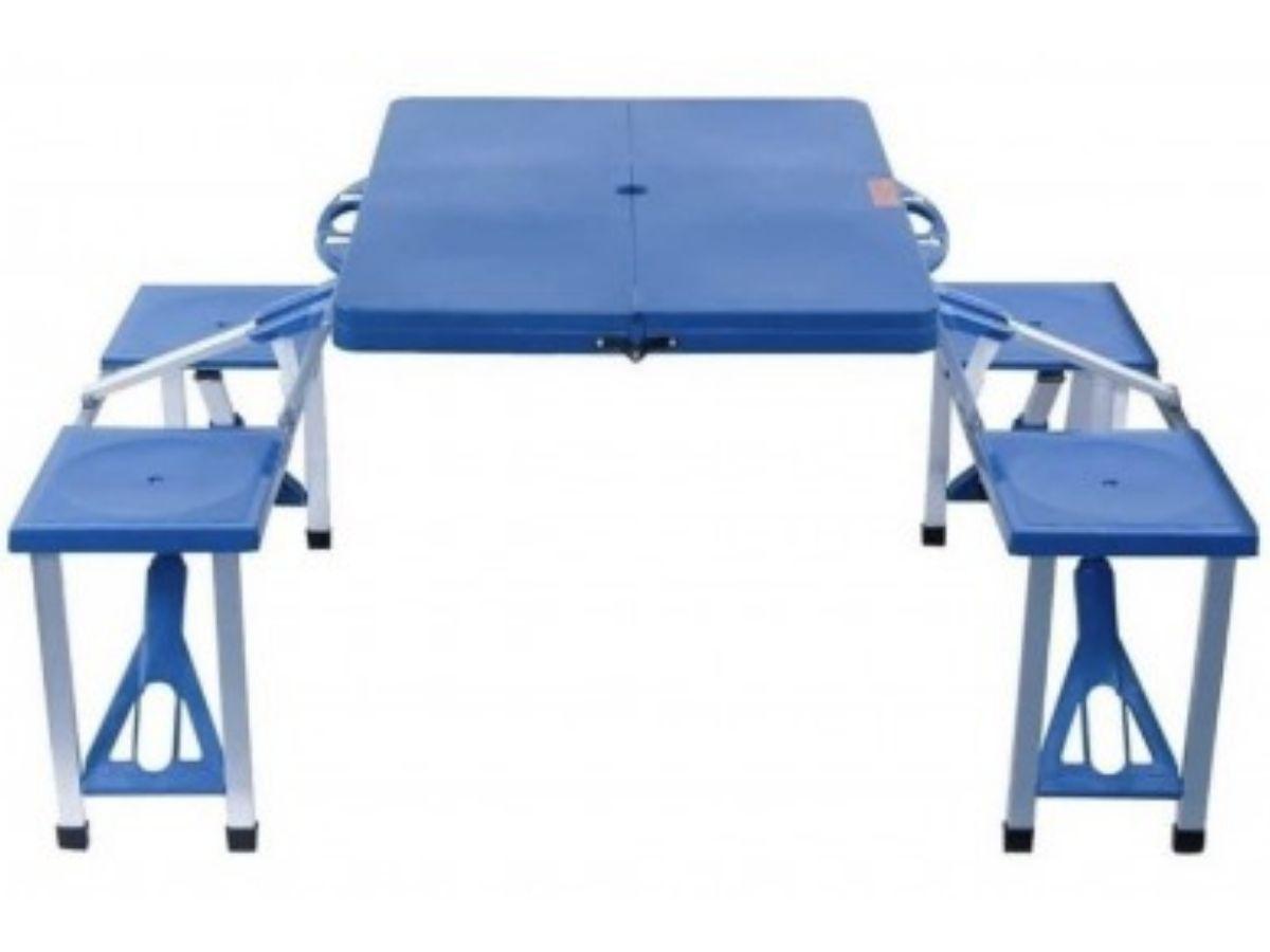 Mesa Dobrável De Alumínio Azul Com 4 Banquetas Para Camping Vira Mala BlobalMix Gh200