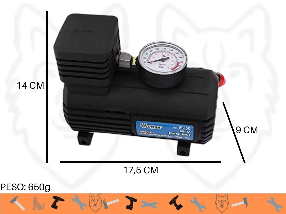Mini Compressor De Ar 12v 250psi Western W-250