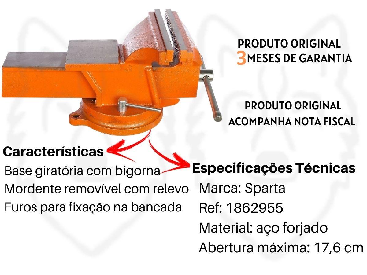 Torno Morsa De Bancada Sparta N8 200mm 1862955 Base Giratória C/ Bigorna
