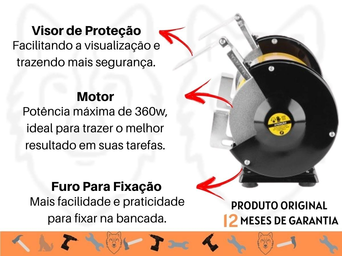 Moto Esmeril De Bancada 360w Vonder 6 Polegadas 3450rpm