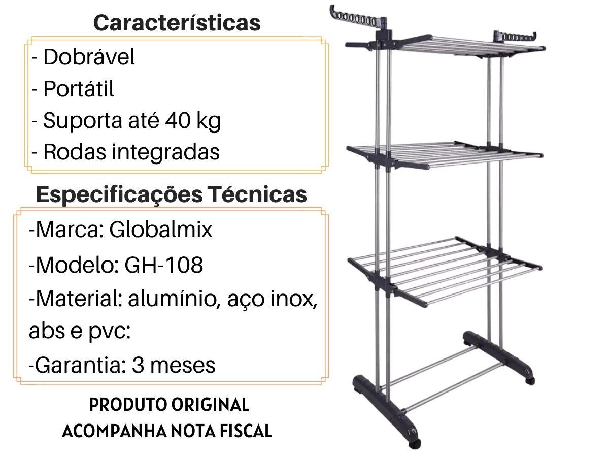 Multi Varal De Chão Globalmix GH-108 Dobrável 3 Andares