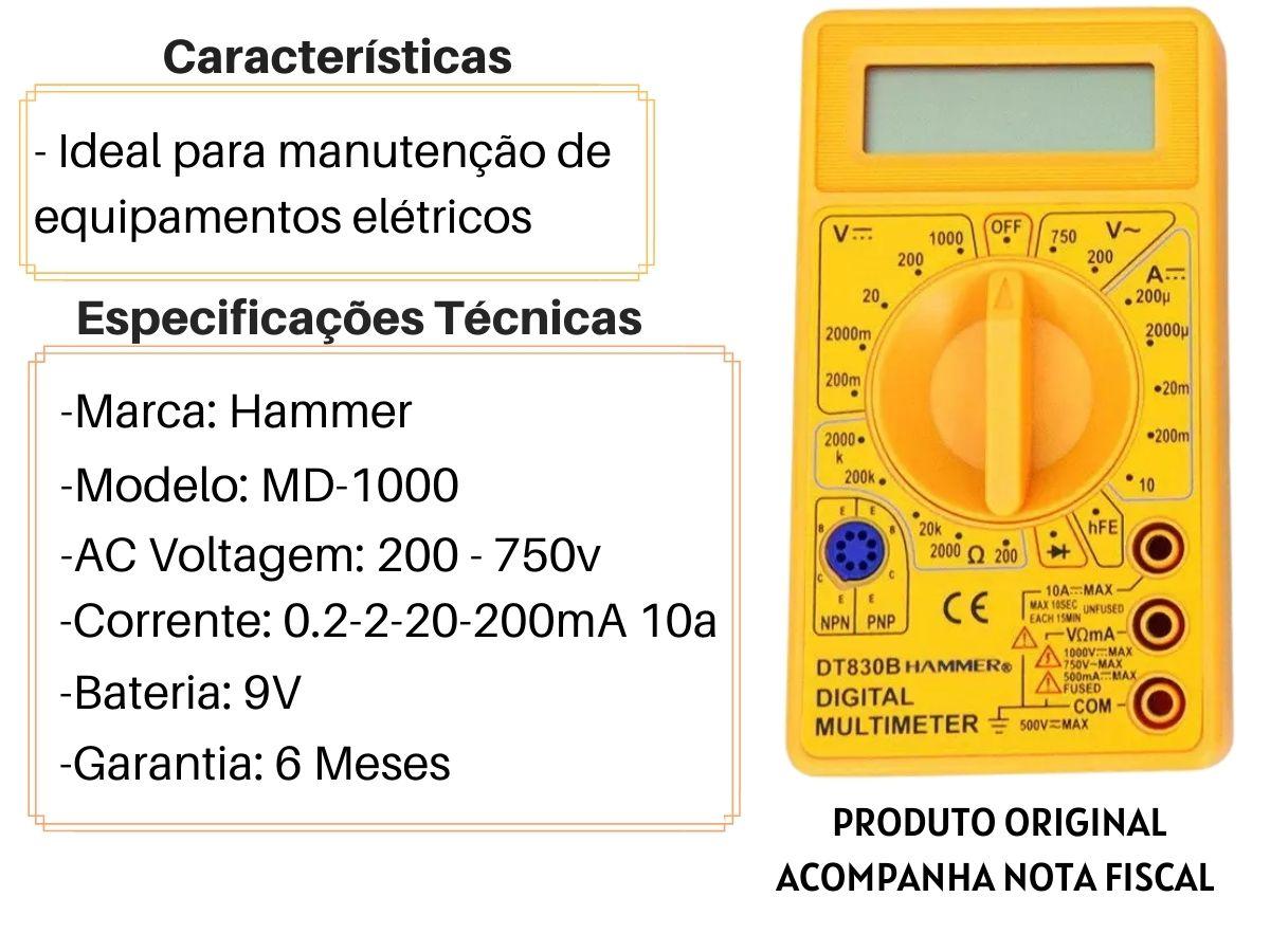 Multímetro Digital Hammer MD-1000 9v
