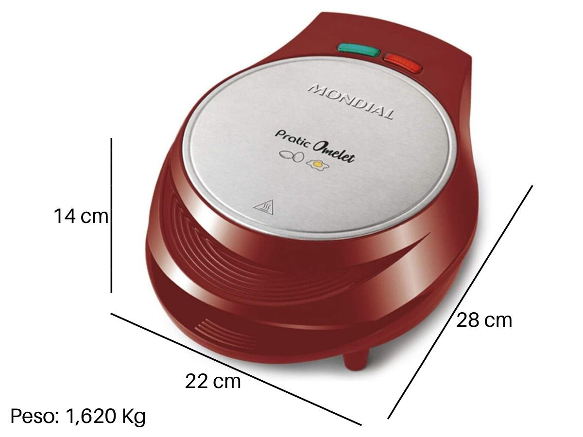 Omeleteira Elétrica Mondial Om-03 Pratic Vermelha