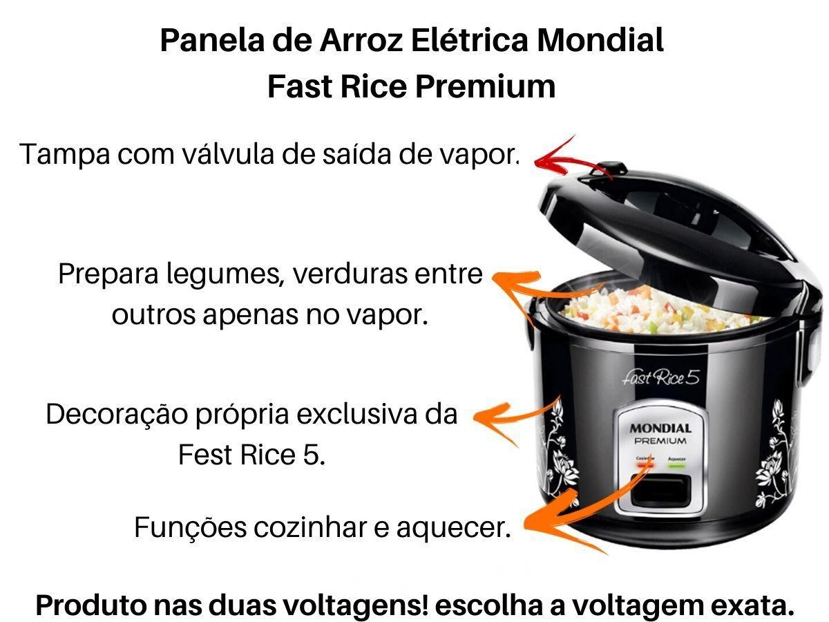 Panela De Arroz Elétrica Mondial NPE-08 Fast Rice Premium Preta