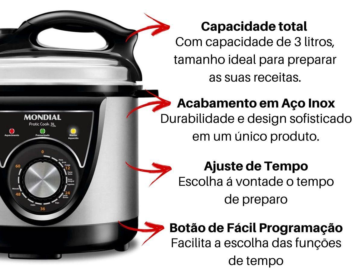 Panela De Pressão 3 Litros Elétrica Mondial Pe-26 Premium Pratic Cook