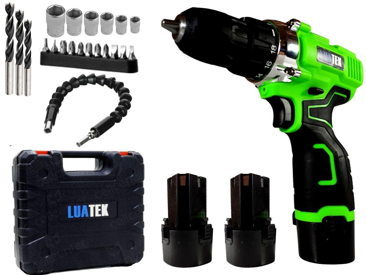Parafusadeira Furadeira 12v Luatek Lwj-203 Com 2 Baterias De Lítio + Maleta Acessórios