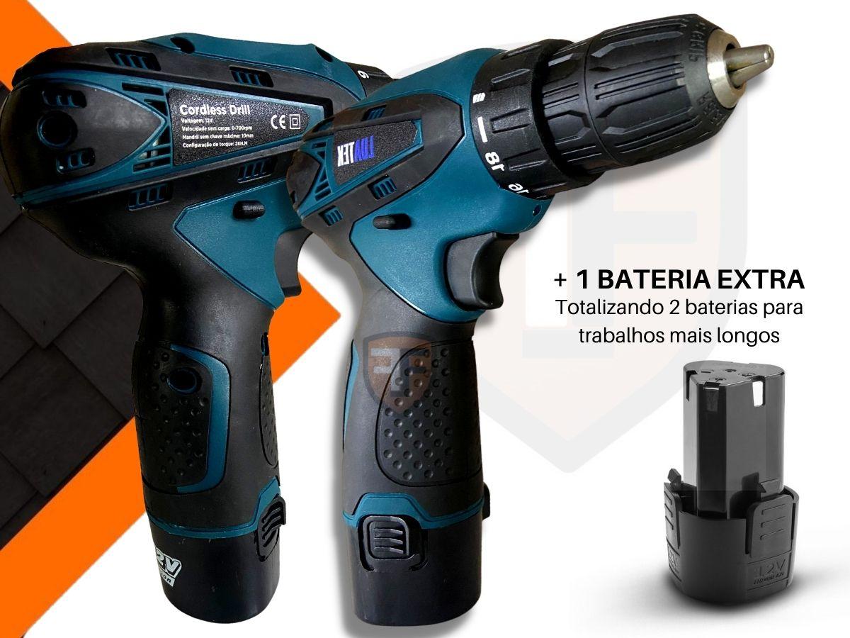 Parafusadeira Furadeira 12v Luatek Lwj-204 2 Baterias Lítio-Ion Com Acessórios 36 Peças