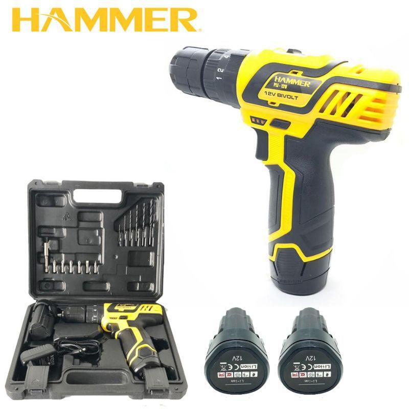 Parafusadeira Furadeira 12v Com Impacto Hammer Pli-120 10mm Com 2 Baterias e Maleta