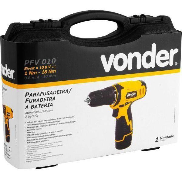 Parafusadeira Furadeira 10,8v Vonder Pfv-010 2 Baterias Maleta e Acessórios