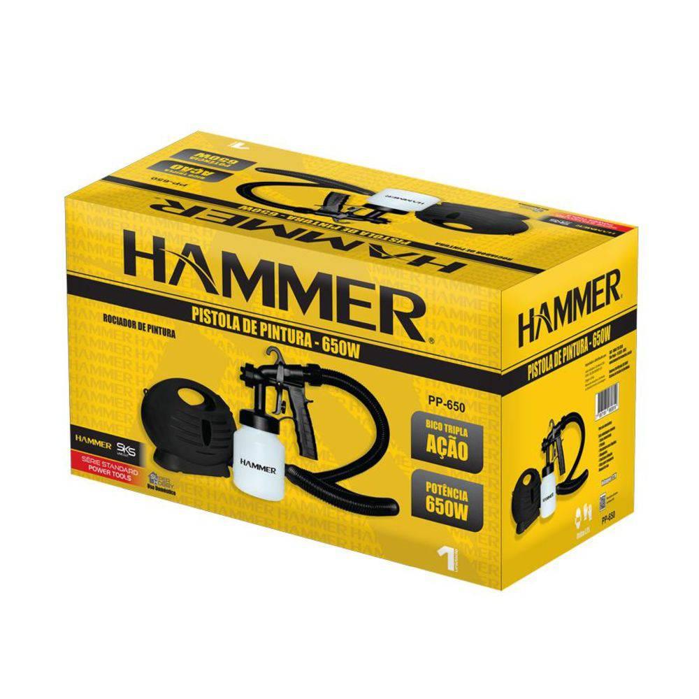 Pistola De Pintura 650w Hammer Pp-650 880ml Com Acessórios