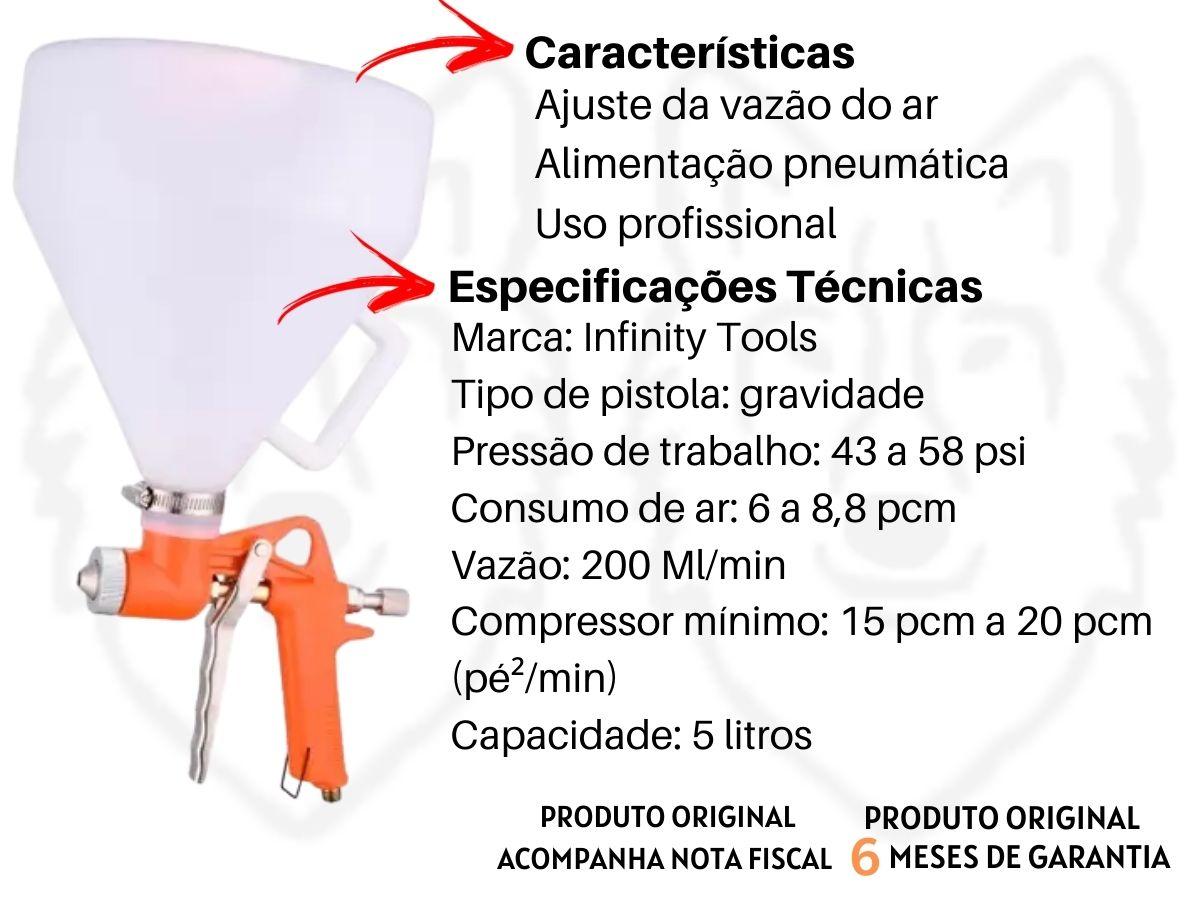 Pistola Pneumática Projetora De Textura Infinity Tools 5 Litros